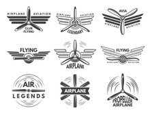Labels An Logos For Military Aviation. Aviator Symbols In Monochrome Style