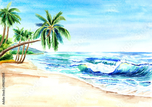 Seascape. Summer tropical beach with golden sand, waves and palmes. Hand drawn horizontal watercolor illustration