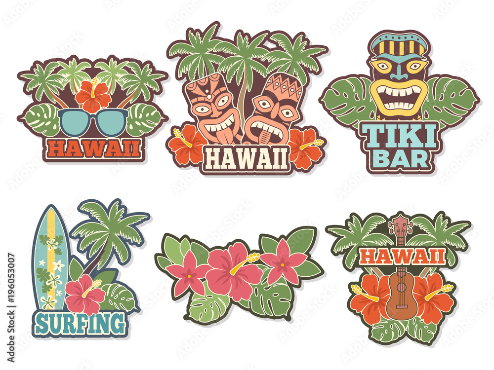 Fototapeta Different colored stickers and badges set with symbols of hawaiian culture