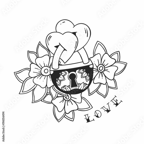 f385b8b68 The padlock with two hearts and flowers in traditional tattoo style. Vector  love illustration.