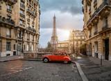 Fototapeta Fototapety Paryż - The eifel tower in Paris from a tiny street