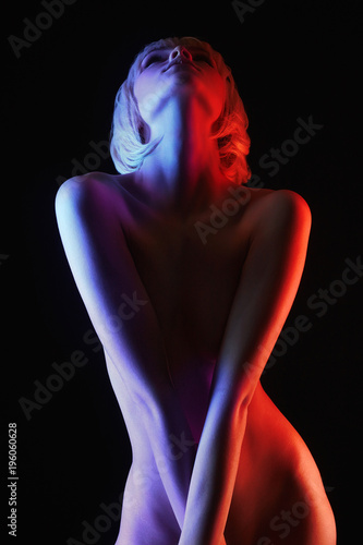 In de dag Akt Rainbow Nude Woman, Colorful bright lights