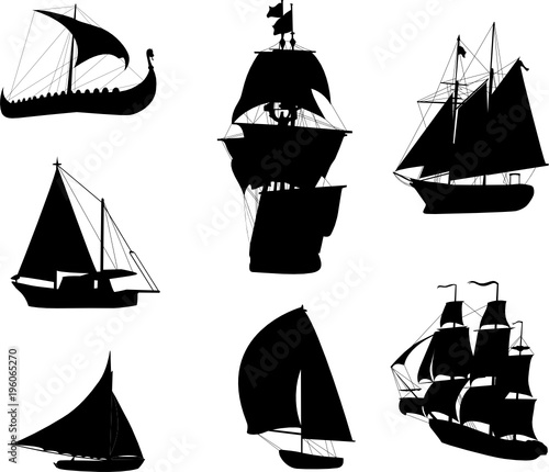 In de dag Schip Silhouettes of historic sailing ships