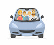 Family trip - cartoon people character isolated illustration
