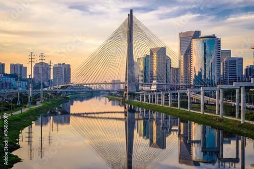 Garden Poster Brazil Sao Paulo Skyline Sunset - Brazil