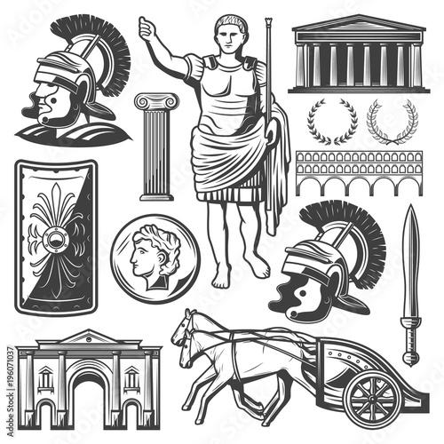 Fotografía Vintage Roman Empire Elements Set