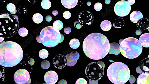 Holographic bubbles on black. 3d illustration. Night sky. Glass backdrop. Abstract background. Fairy wallpaper. Cosmic. Planets. Pink. Blue. Fantasy. Unicorn colors. © ADELART