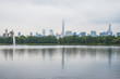 View of New York from Central Park. Lake.