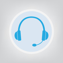 Headphones With Microphone Icon- Vector Illustration
