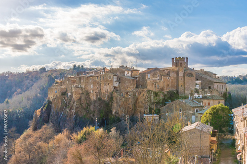 Printed kitchen splashbacks Athens Calcata (Viterbo, Italy) - The old town of Calcata, perched on a mountain of tufa, overlooking the green Treja river valley, in Lazio region.