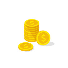 Coins Stack, Coins Icon Isomet...