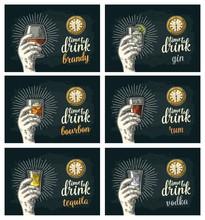 Male Hand Holding Glasses Beer, Tequila, Vodka, Rum, Whiskey, Brandy