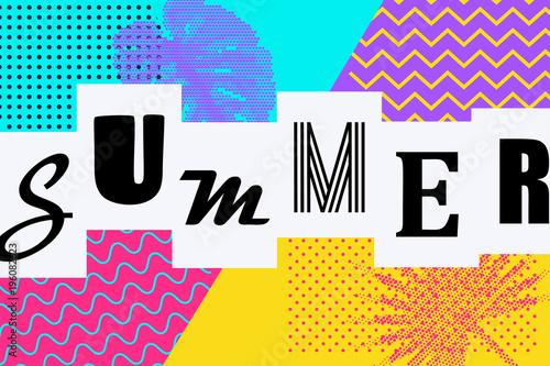 Summer background Memphis style  Retro tropical backdrop 80s