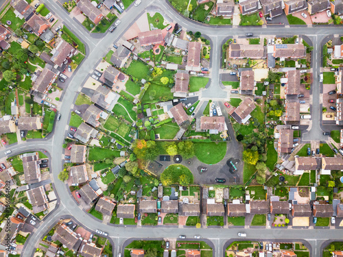 Poster London Aerial view of traditional housing estate in England. Looking straight down with a satellite image style, the houses look like a miniature village