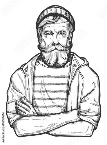 Fototapeta old sailor portrait