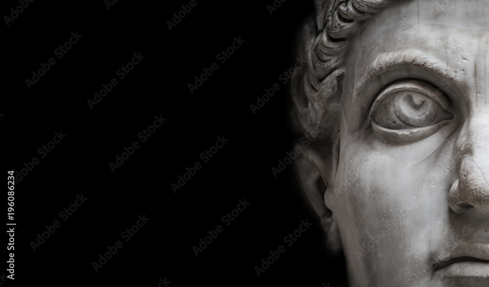 Fototapety, obrazy: Statue of Roman Nobel Man  isolated at black background, Rome, Italy