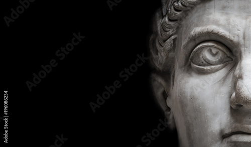Foto op Aluminium Historisch mon. Statue of Roman Nobel Man isolated at black background, Rome, Italy