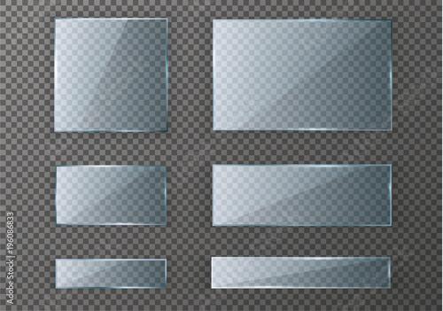 Fotografie, Obraz  Vector glass modern banner set with shiny golden metallic frame on transparent background