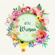 Witaj wiosno, piękny kwiatowy motyw, koncepcja na kartkę z życzeniami