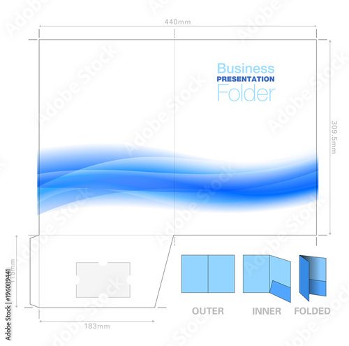Leinwand Poster Presentation Folder A4, Template with Flow Background Graphic, Cutter Guide, wit