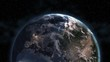 Europe View. Realistic Earth. Slowly Rotating Earth with Night City Lights. 3D Animation. 4k UH Detailed and Natural Textures. View Of Planet Earth From Space. Elements of this image furnished by Nasa