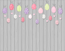 Colorful Hanging Easter Eggs. Rustic Wooden Background. Cartoon Style