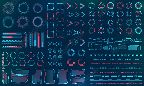 Obraz na płótnie Set HUD Interface Elements - Lines, Circles, Pointers, Frames, Bar Download for