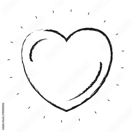 Blurred Silhouette Front View Heart Shape Symbol Charity Love Vector