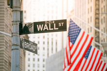 Wall Street And Broad Street Sign In New York