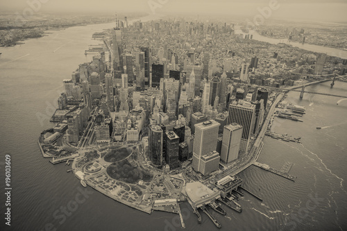 Poster New York Aerial view of Manhattan skyline at sunset, New York City