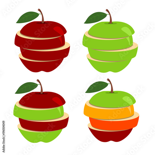 Obraz na plátně Vector illustration of  apple with slices isolated on white background