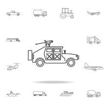 War Humvee Military Icon. Detailed Set Of Transport Outline Icons. Premium Quality Graphic Design Icon. One Of The Collection Icons For Websites, Web Design, Mobile App