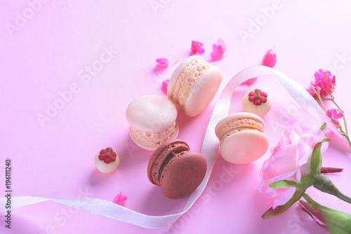 Foto op Aluminium Macarons Colorful macarons or macaroons dessert sweet beautiful to eat