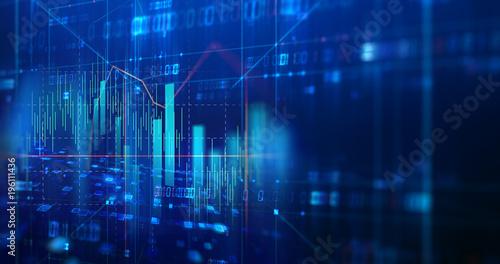 stock market chart data screen on technology background Canvas Print
