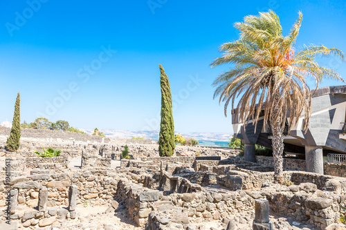 Capernaum, the city of Jesus in Galilee Israel, Galilee. Canvas Print