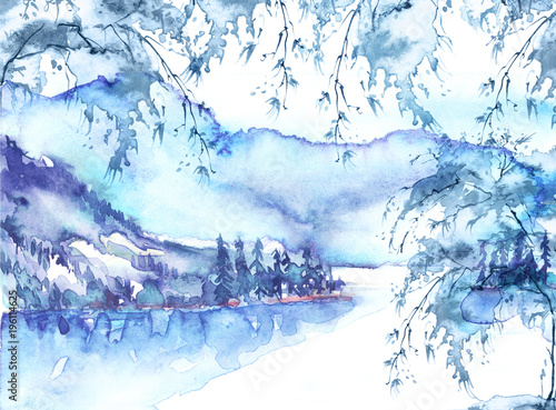 Fototapety, obrazy: Watercolor mountain landscape, blue, purple mountains, tree, peak, forest silhouette, reflection in the river, lake, clouds, fog. Watercolor painting, illustration, landscape