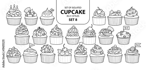 Photo  Set of isolated cupcake in 21 styles set 8.