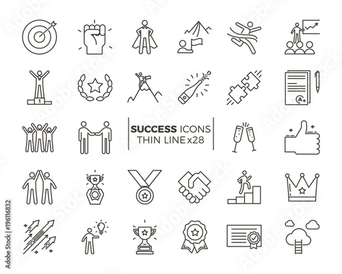 Icons related with success, motivation, willpower, leadership, determination and growth. Vector pictogram thematic set. Objects and dynamic character actions