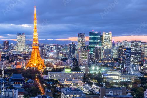 Fotobehang Tokyo Tokyo city view with Tokyo Tower at night