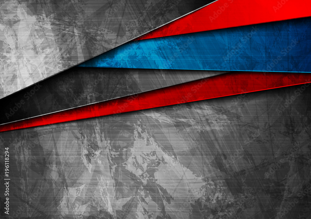 Fototapety, obrazy: Grunge tech material blue and red background