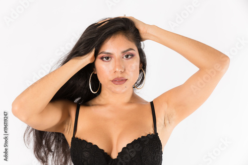 7c8d94863 Young fit hispanic woman in black two piece