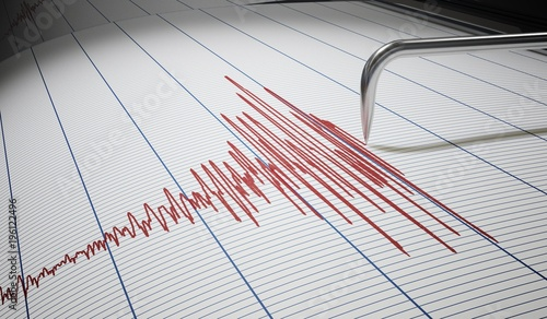 Fotografie, Tablou Seismograph for earthquake detection or lie detector is drawing graph