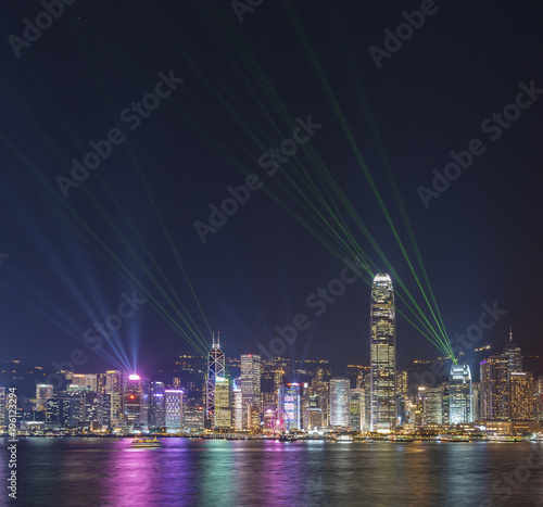 Deurstickers Rotterdam Laser show in Victoria Harbor in Hong Kong city
