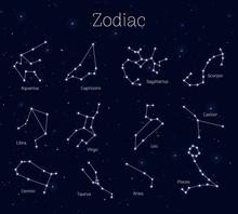Set Zodiac Signs, Night Sky Ba...