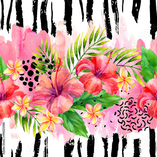Fotoposter Grafische Prints Hand painted artwork: watercolor tropical leaves and flowers on brush strokes background.