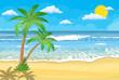 Summer beach with a sun,