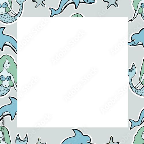 Hand Drawn Vector Cute mermaid, dolphin, stars. Frame. For textile ...