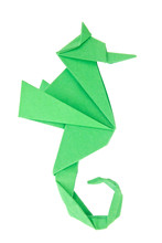 Green Seahorse (Hippocampus) Of Origami, Isolated On White