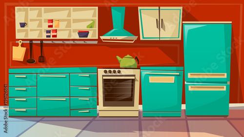 Modern Kitchen Interior Vector Illustration Cartoon Flat Background