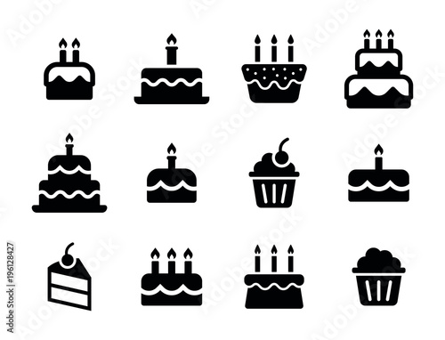 Birthday icon collection - Birthday food Cake set Fotobehang